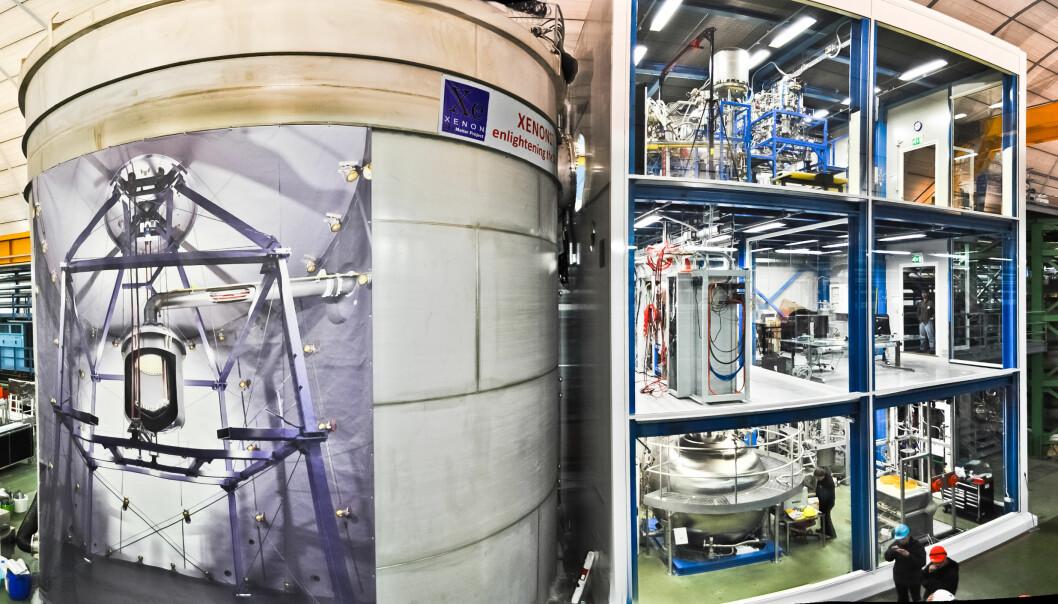 Xenon1T er plassert i en hule som måler 100x20x18 meter. Plakaten på den store vanntanken viser innholdet – selve detektoren sitter inne i midten av tanken. Den gjennomsiktige bygningen ved siden av rommer blant annet kjølesystemet.   (Foto: The Xenon Collaboration)