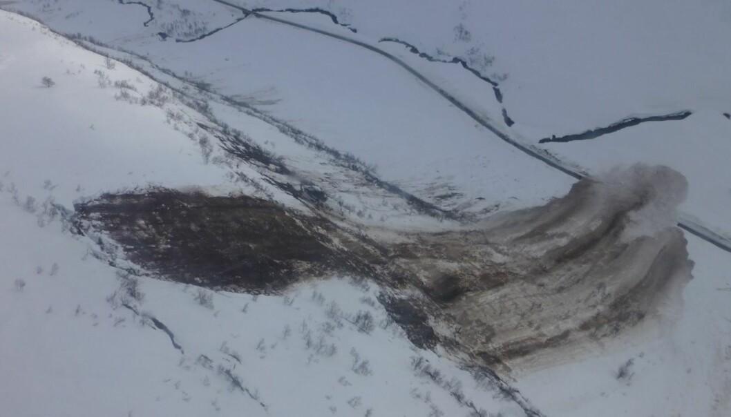 Det store glideskredet som gikk i Kvassdalen den 8.4. i 2015. Du kan se vegen nede i bunn av dalen, og skredet er rundt 100 meter bredt. Det ligger åtte meter snø på vegbanen. (Foto: Statens vegvesen)