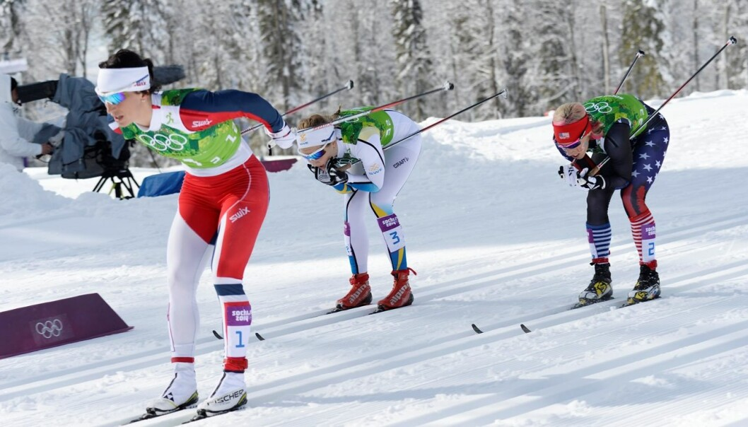 Marit Bjørgen's impressive upper arm muscles come in handy when she needs to pull past the competition. (Photo: Maja Suslin / Scanpix)