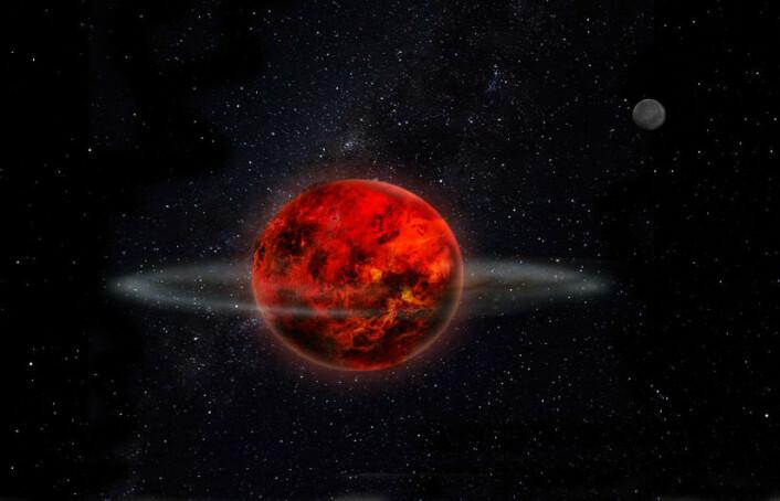 Den unge jorda kolliderte med en annen planet, og en ring ble slynget ut i bane rundt jordas ekvator. Denne ringen trakk seg sammen og ble til månen. Andre småkloder sneiet forbi månen og endret banen, slik at den ikke går rett foran sola og lager solformørkelse hver nymåne. En av disse småklodene er tegnet inn øverst til høyre i bildet. (Foto: (Illustrasjon: Laetitia Lalila))