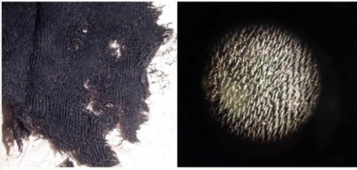 Treskaftet kypertavart med varierte diagonalvendinger. Stripe/rutemønsteret er faktisk enklere å se med det blotte øye enn i mikroskop.  (Foto: NIKU 2015)