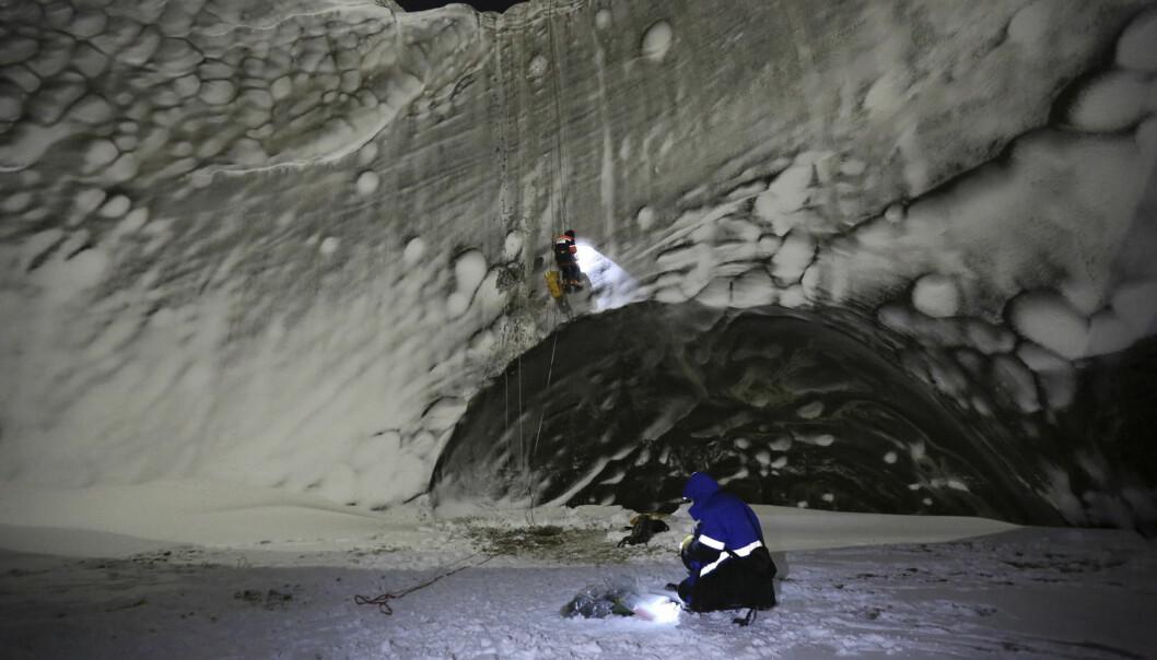 Forskere undersøker innsiden av et krater som nylig oppstod på Jamalhalvhøya. Nå er det også funnet kratere på havbunnen i nærheten. (Foto: Vladimir Pushkarev, Reuters)