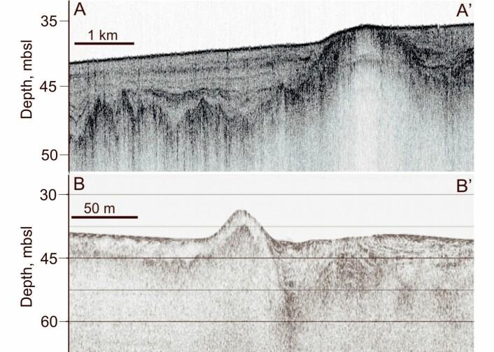 Slik ser havbunnspingoene ut for forskerne som studerer dem. De ble oppdaget under seismikkskyting i området. De varierer mellom 70 og 1000 meter i diameter. (Foto: (Illustrasjon: Pavel Serov, Cage))