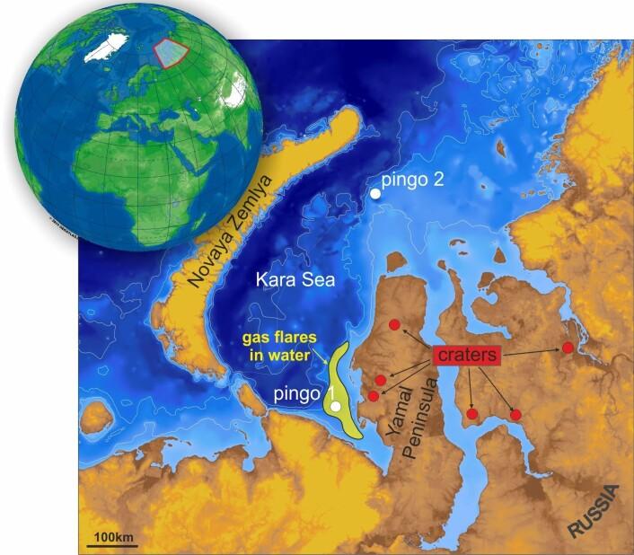 Kartet viser hvor de to pingoene er funnet i Sør-Karahavet. (Foto: (Illustrasjon: Pavel Serov, Cage))