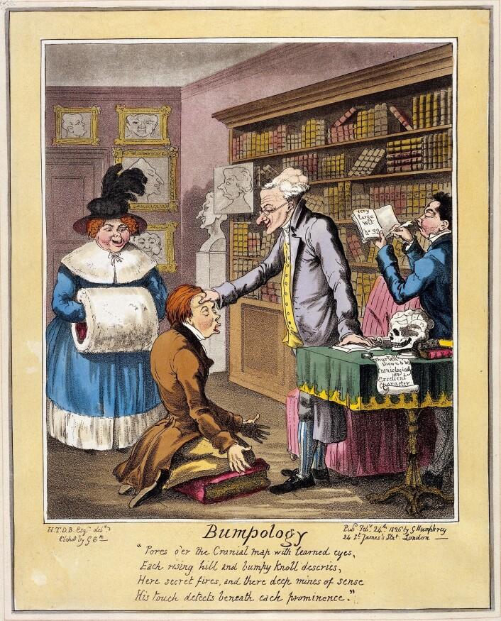 En karikatur fra 1826 som gjør narr av en praktiserende frenolog. Blant annet står det: Thurtell shown to be craniologically an excellent character. Thurtell var en dømt morder.  (Foto: (Bilde: George Cruikshank/Wikimedia Commons.))