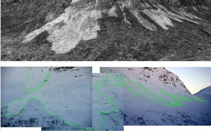Her er det samme skredområdet avbildet både av radar og med kamera ute i felten. Her er radarbildet bekreftet, og det har faktisk gått et skred. (Foto: (Bilde: Norut))