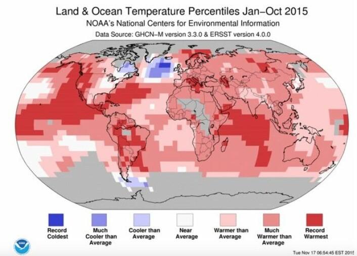 Rekordvarmt en rekke steder i verden etter at ti måneder er unnagjort av 2015. (Bilde: NOAA)