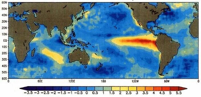 Kartet viser de unormalt høye temperaturene som oppstod i den østlige delen av Stillehavet i 1997. Vanligvis skulle denne delen av havet vært mye kjøligere.  (Foto: (Illustrasjonsbilde: NOAA.))