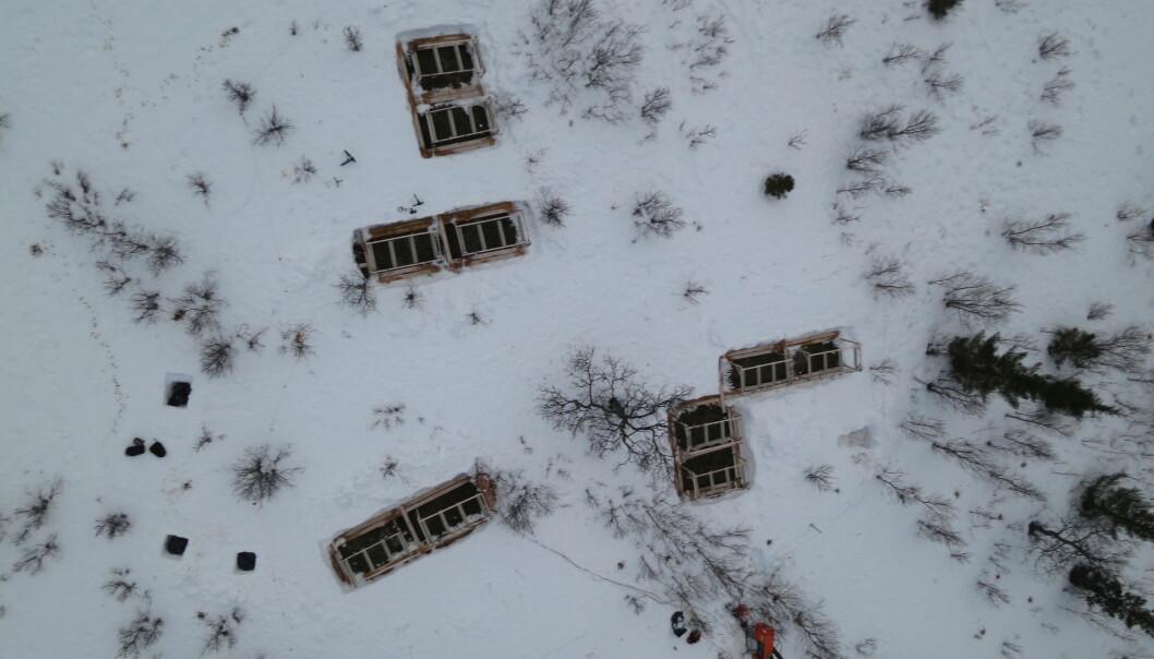 Field site in winter after a few days of snowmelt seen from the air at long distance. (Photo: Kjell-Sture Johansen, NORUT)