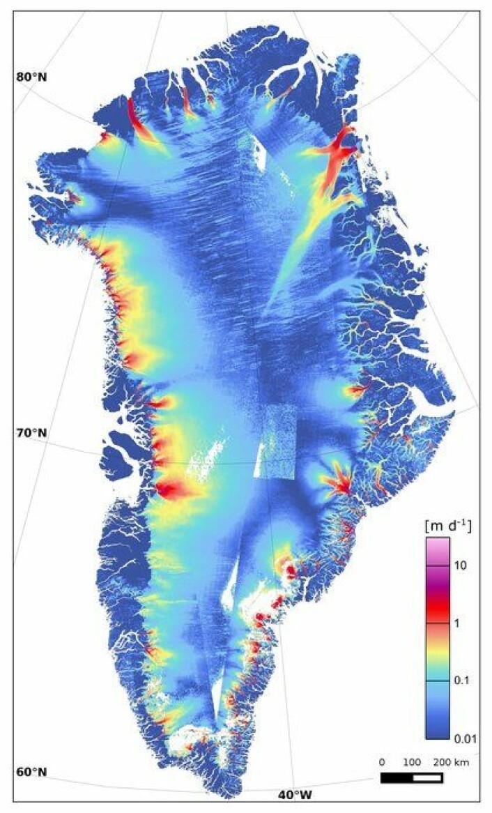 Farten til isbreer på Grønland målt av den europeiske radarsatellitten Sentinel-1 og andre i januar til mars 2015. Kjempebreen Zachariæ Isstrøm i nordøst er en av dem som beveger seg raskest.  (Foto: Copernicus/Sentinel/ENVEO/ESA CCI/FFG)