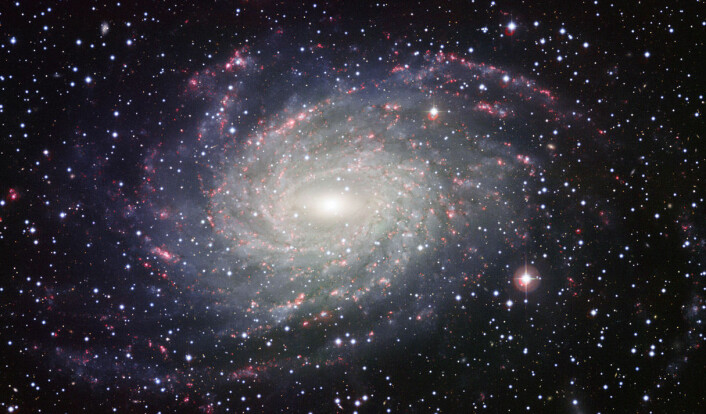 Slik omtrent ville den roterende skiven av galaksen vår, Melkeveien, sett ut hvis vi var langt unna og så den ovenfra. Siden vi er inne i Melkeveien, ser vi skiven sidelengs som et lysende bånd på himmelen. Dette er galaksen NGC 6744 i stjernebildet Pavo, påfuglen. (Foto: ESA, https://creativecommons.org/licenses/by/3.0/deed.en)
