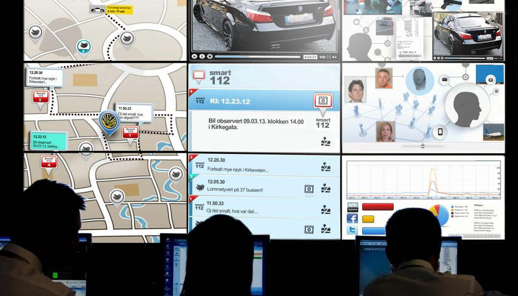 Slik ser forskerne for seg at politiet kan jobbe: På operasjonssentralen skal de kunne følge risikoområder på digitale kart. Dataene er også koblet til sosiale medier, overvåkningskameraer og ulike andre databaser.  (Illustrasjon: Birgitte Blandhoel, Teknologirådet)