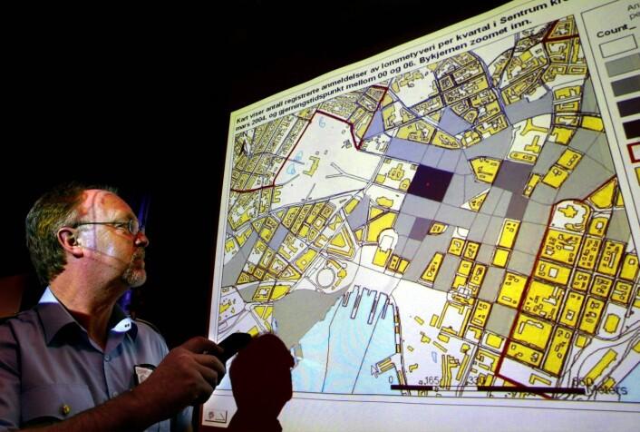 I 2004 og 2005 tok Oslo-politiet bruk såkalt geografiske informasjonssystemer (GIS-verktøy). De la historiske kriminalitetsdata over flere år over på kart, og fikk dermed oversikt over hvilke områder som var spesielt utsatt for lommetyverier, bilinnbrudd og vold.  (Foto: Ingar Storfjell)