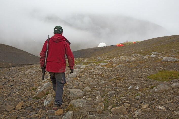 For å beskytte seg mot isbjørnangrep, har Stig Larsen med seg dorifle når han må på det provisoriske toalettet hundre meter unna leiren.  (Foto: Yngve Vogt)