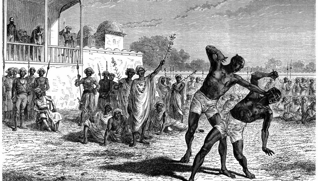 Om antikkens ypperste atleter dopet seg, har lenge vært diskutert. Både alkohol, urteuttrekk og sopper nevnes som mulige dopingpreparater. (Illustrasjon: Erica Guilane-Nachez)