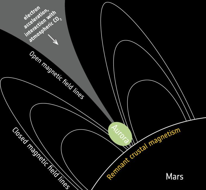 Magnetfeltene på Mars som skyldes bergarter på bakken skaper nordlys når de åpner seg som en paraply og leder elektroner fra sola ned til atmosfæren. (Foto: ESA/ATG medialab/J-C. Gérard & L. Soret (2015))