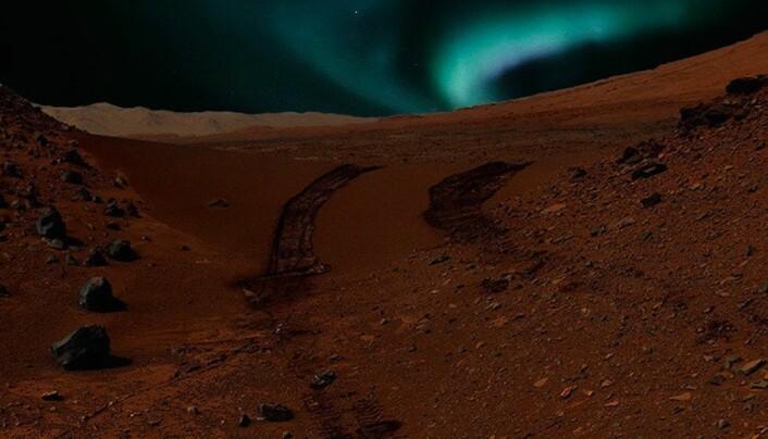 På planeter uten magnetfelt, som Mars, kan solvinden treffe atmosfæren direkte og skape nordlys. Slik mener NASA det kan se ut på overflaten. Men dette er ikke den eneste typen nordlys på Mars.  (Foto: NASA/JPL-Caltech/MSSS & CSW/DB)