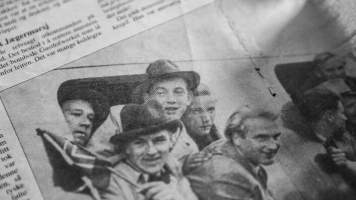 Tysklandsstudenter på hjem til Norge etter frigjøringa. Solveigs morfar er i midten med hatt. (Foto: Faksimile)