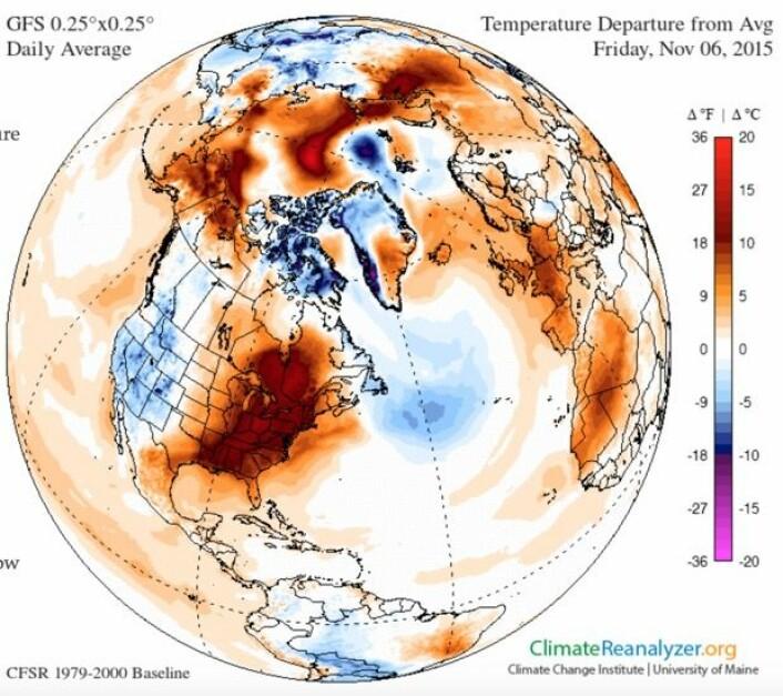 Ypperlig høstvær i New England da årets Transatlantic Science Week ble arrangert. (Bilde: Climate Reanalyzer/Univ of Maine)
