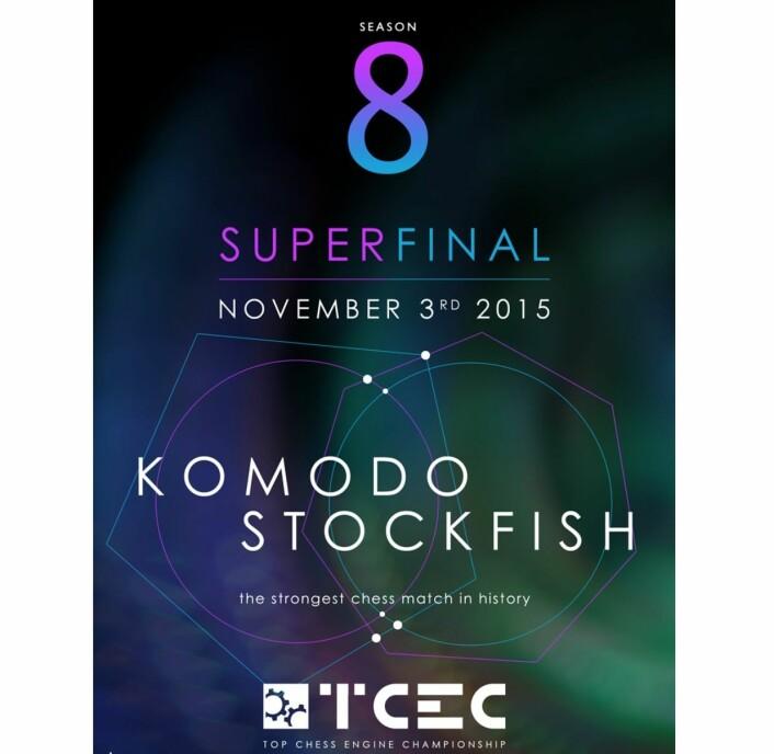 For spesielt interesserte: Her er reklameplakaten for superfinalen i computersjakk. (Bilde: TCEC/ChessDom)