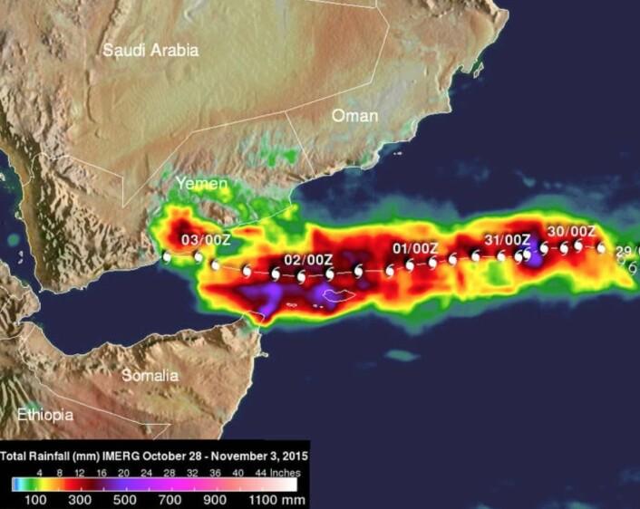 Utrolig hva man kan gjøre fra satellitt: Her er nedbørsmengdene fra tropiske syklonen Chapala. (Bilde: NASA)