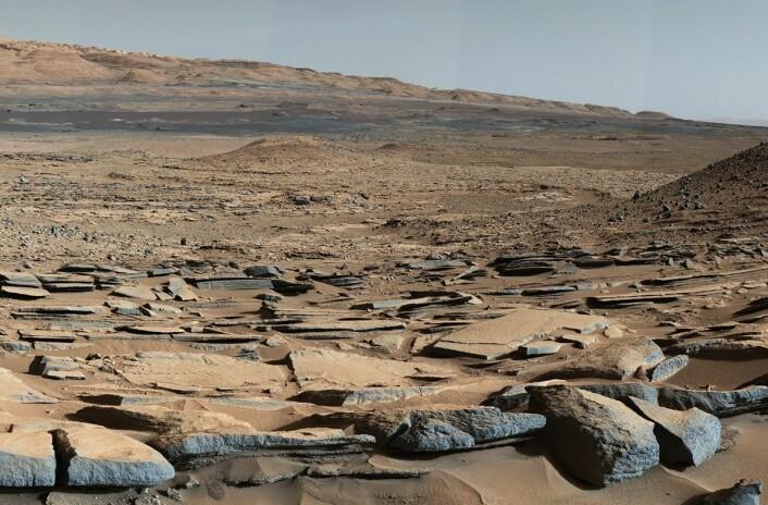 """Utsikt fra """"Kimberley""""-formasjonen på Mars tatt av NASAs kjøretøy Curiosity. De lagdelte bergartene i forgrunnen går ned mot foten av Mount Sharp, og tyder på at vann har flytt mot et basseng som eksisterte før størstedelen av fjellet ble formet. (Foto: NASA/JPL-Caltech/MSSS)"""