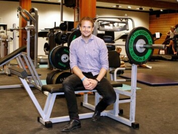 Tormod Nilsen Skogstad in the strength training room at the Norwegian School of Sport Sciences. (Photo: Yvonne Haugen)