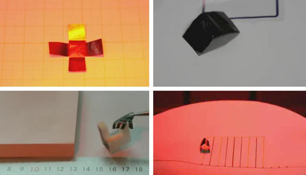 Flak av grafénpapir kan folde seg til en boks (øverst t.v), bevege seg i kurver (øverst t.h), gripe om tunge gjenstander (nederst t.v) og gå som en målelarve, alt styrt av heten fra infrarødt lys. Teknologien kan brukes i kunstige muskler og mikroskopiske roboter, mener de kinesiske forskerne bak studien i tidsskriftet Science Advances. (Foto: Fra video av Donghua University.)