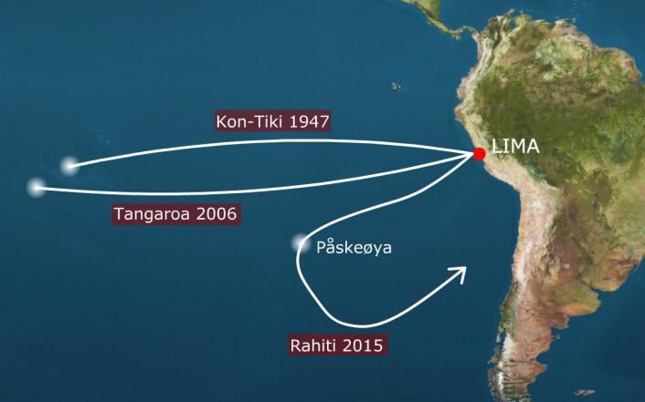 Kon-Tiki 1947 er ruten Thor Heyerdahl og hans mannskap seilte i 1947, fra Limas havneby Callao til Raroia i Polynesia. Tangaroa 2006 er ruten Torgeir Sæverud Higraff seilte i Heyerdahls farvann i 2006, en flåte som også ble bygget i balsatre.«Tangaroa» fullførte ekspedisjonen fra Peru til atollen Raroia 31 dager raskere enn «Kon-Tiki». Rahiti er ruten planlagt for vinteren 2015–2016. Ekspedisjonen, som også i år ledes av Torgeir Higraff, skal snu på Påskeøya og seile tilbake til Sør-Amerika. (Foto: (Montasje: forskning.no))