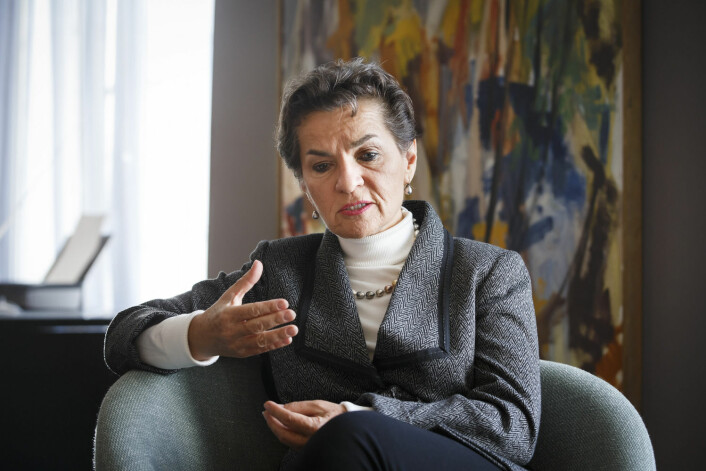 FNs klimasjef Christiana Figueres mener klimaløftene må skjerpes dersom man skal nå det globale målet om to graders temperaturstigning. (Foto: Heiko Junge, NTB scanpix)