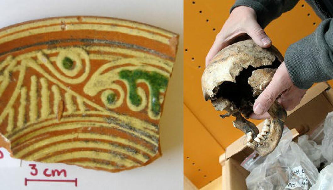 Det glasert keramikk som dette som var skyld i at rike middelaldermenneskene var mer utsatt for bly enn de fattige. Den dyre keramikken var nemlig et statussymbol  (Foto: Kaare Lund Rasmussen og Birgitte Svennevig)
