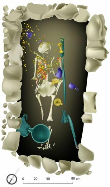Illustrasjonen viser hvor mange av de ulike gjenstandene lå plassert i graven.  (Foto: (Illustrasjon: University of Cincinnati, Pylos Excavations.))