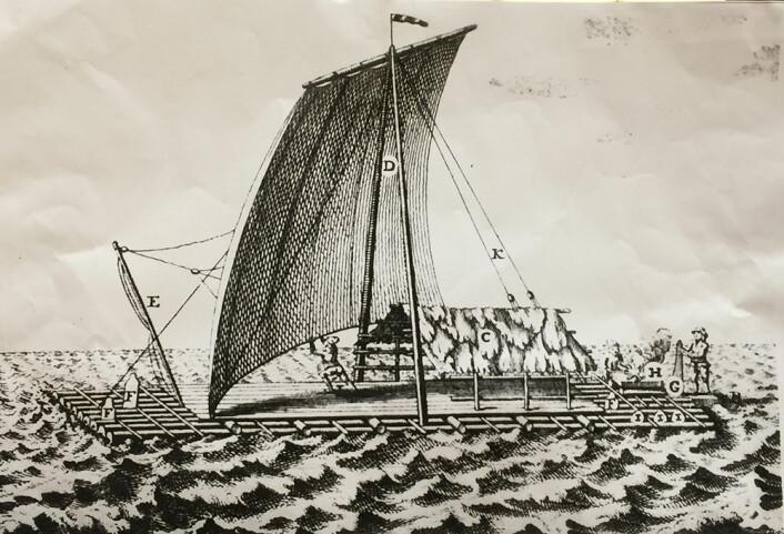 Tegning fra 1748 av balsaflåte med senkekjøl. (Foto: (Illustrasjon: NTNU))