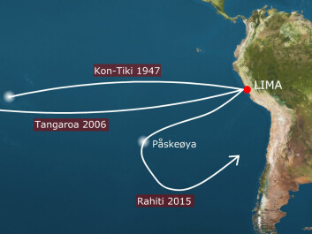 Kon-Tiki 1947 shows the route Thor Heyerdahl and his crew sailed in 1947, from Limas harbour town Callao to Raroia in Polynesia. Tangaroa 2006 is the route Torgeir Sæverud Higraff saild in Heyderdahls waters in 2006, a raft that was also built in balsa wood.  Tangaroa arrived in Raroia 31 days faster than Kon-Tiki. Rahiti is the route scheduled for winter 2015-2016. The expedition, that will be lead by Higraff, will turn at Easter Island and sail back to South America. (Montage: forskning.no)