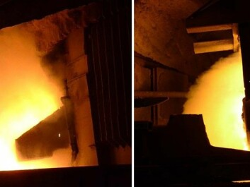 Left: This is what a smelter hall has traditionally looked like when silicon is tapped from a furnace, as dust is discharged into the work atmosphere from metal flowing out of the tap-hole. Right: What it looks like when silicon is tapped at Elkem Thamshavn today. A new extraction system removes 85 percent of the dust in the work zone around the furnace. (Photo: SINTEF)