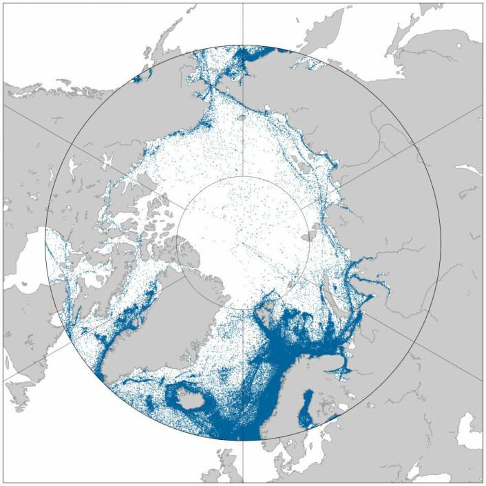 Skipstrafikk i Arktis fra september 2010 til september 2012, sett av AISSat-1.  (Foto: (Grafikk: Norsk Romsenter))