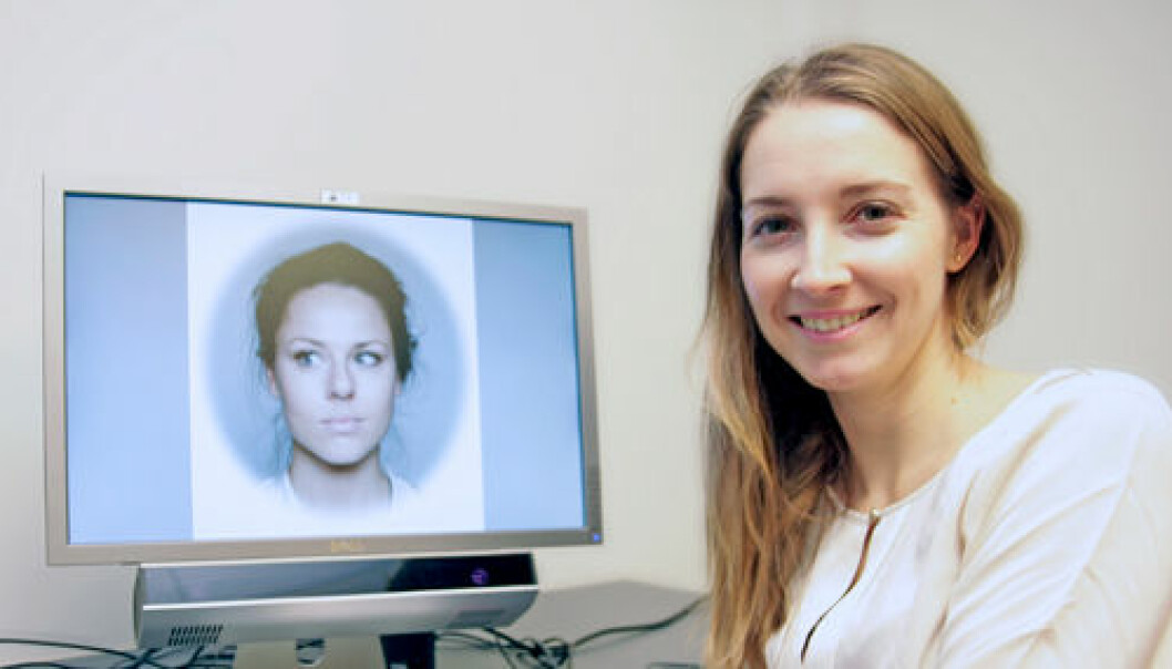 PhD Candidate Olga Chelnokova together with one of the faces that the participants assessed. (Photo: Svein Harald Milde and Guro Løseth)