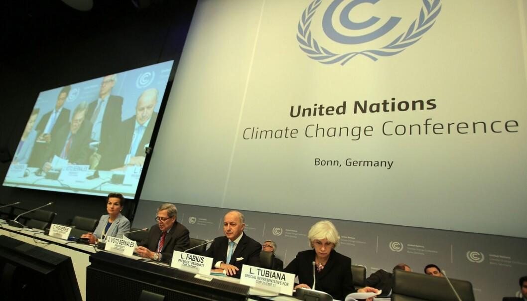 FNs klimakonferanse pågår nå i Bonn, Tyskland. Om en måned skal landene lage ny klimaavtale i Paris, Frankrike. (Foto: Oliver Berg/EPA)
