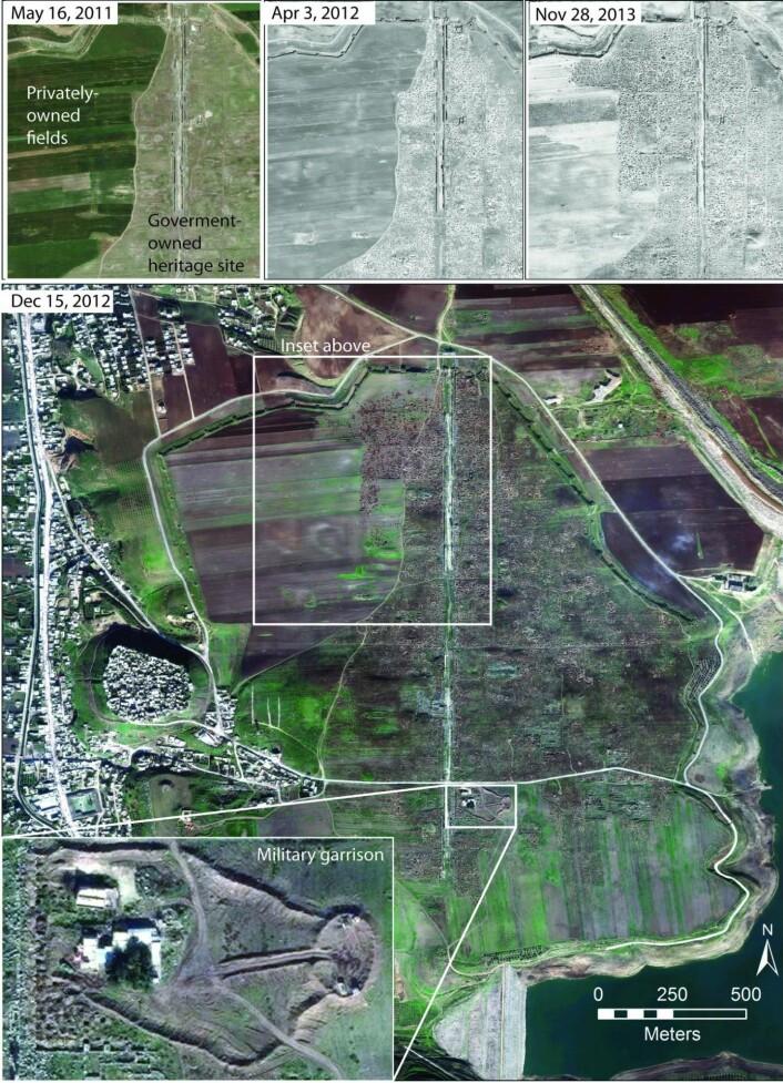 Bildet viser Apamea-området sett fra satellitt. Bildene øverst viser utviklingen fra 2012 til 2013, og du kan tydelig se hvordan utgravningene har bredd seg utover åkrene som ligger i nærheten. (Foto: Digital Globe 2015)