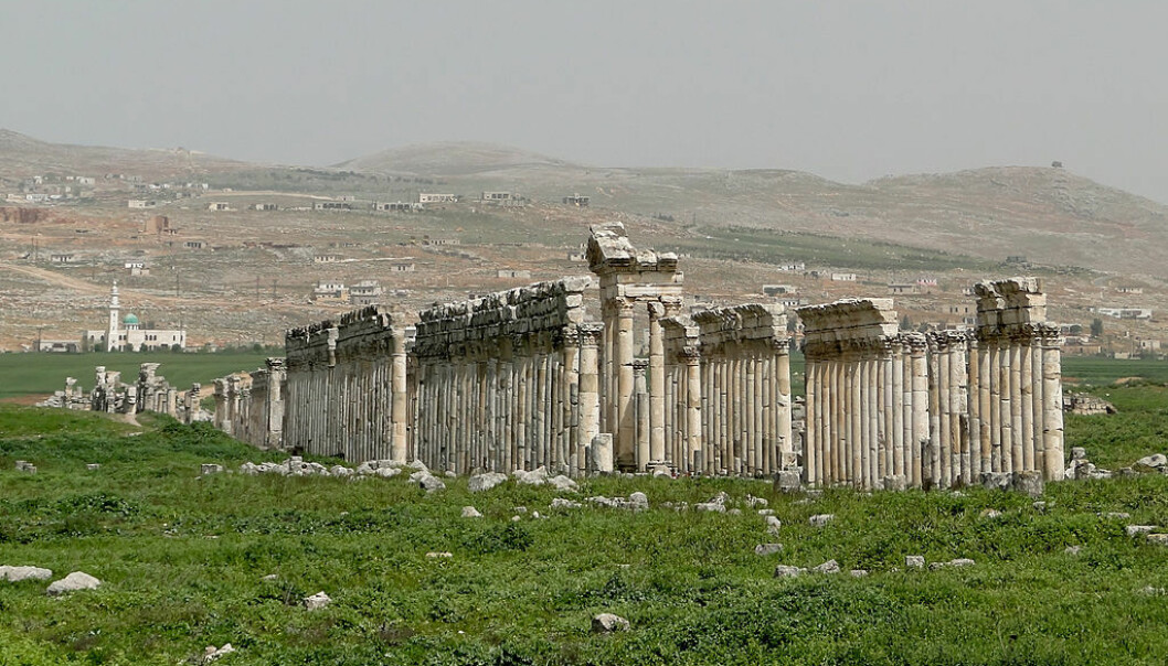 Oldtidsbyen Apamea i Syria. Området ble plyndret i 2012-2013.  (Foto: Bernard Gagnon/CC BY-SA 3.0)