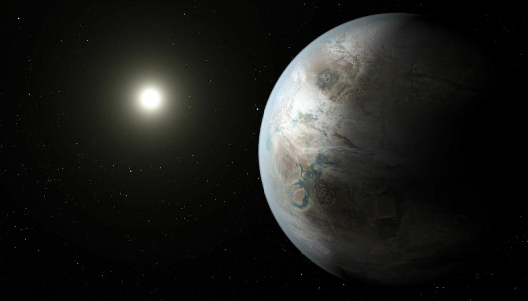 Kepler-452b er 60 prosent større enn jorden, og den befinner seg i den beboelige sonen rundt en stjerne som ligner solen. Illustrasjonen viser hvordan en tegner forestiller seg at planeten kunne se ut.  (Illustrasjon: NASA, JPL-Caltech, T. Pyle)