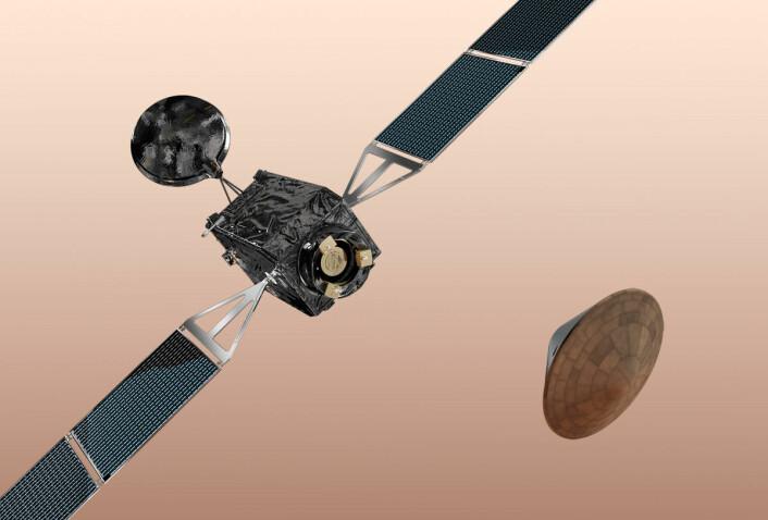 Den første ExoMars-sonden skal skytes opp med en russisk Proton-rakett, trolig neste vår. Modersonden Trace Gas Orbiter skal kretse rundt planeten og samle informasjon om den tynne atmosfæren til Mars. Landingsmodulen Schiaparelli er en forsøksmodul som skal prøve ut teknologien for å myklande på Mars. Den vil bare ha en kort levetid på overflaten før batteriene er tomme. I 2018 skal en europeisk-russisk marsbil etter planen sendes opp med neste ExoMars-ferd. (Foto: (Illustrasjon: ESA-AOES Medialab))