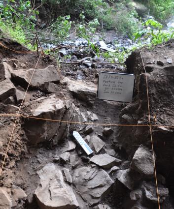 Skjelettet av Mota ble funnet under stein i hulen. (Foto: Kathryn og John Arthur)
