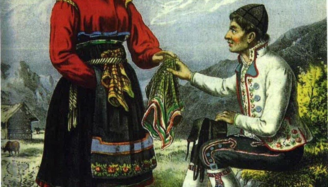 Illustrasjon av et ungt par fra publikasjonen Norsk bondeliv utgitt i 1850-årene.  (Bilde: Adolph Tidemand)