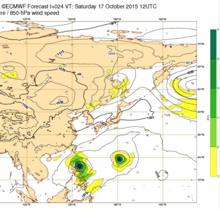 """Prognosen fra ECMWF er krystallklar: Tyfonen """"Koppu"""" kommer til å treffe Filippinene. (Bilde: ECMWF)"""