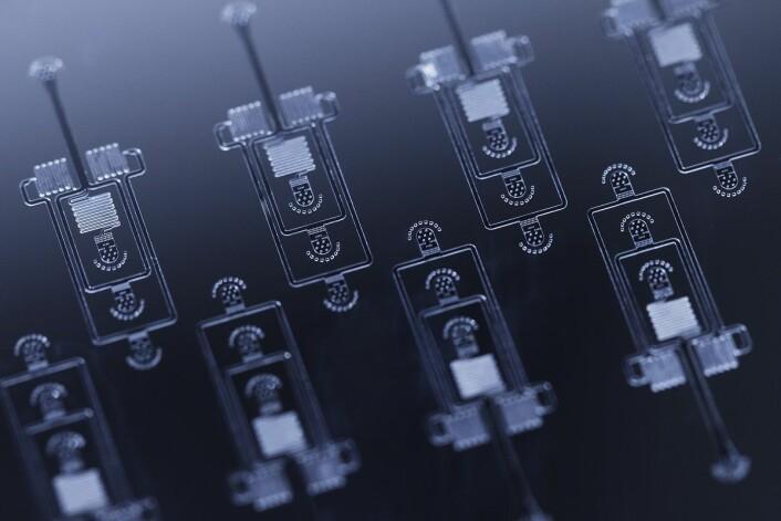 Brikkene gjør det mulig å være presis helt ned på mikro- og nanoskala, og det er nettopp disse skalaene Jonas Myren Ribe og Armend Håti jobber på. (Foto: Geir Mogen, NTNU)