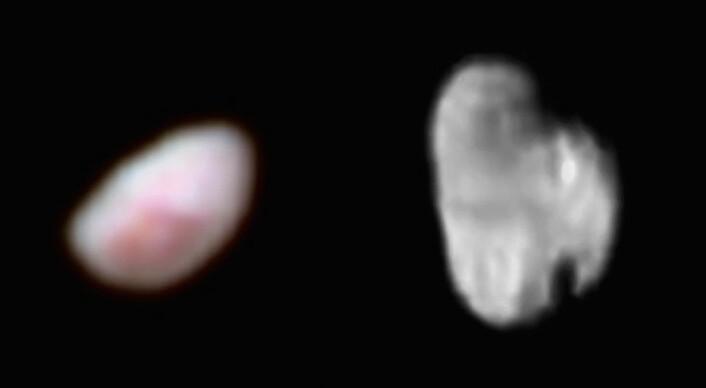Plutos to små måner Nix og Hydra vender ikke samme side mot Pluto slik vår måne gjør. Årsaken kan kanskje være at den større månen Charon forstyrrer dem. Nix (til venstre) er her vist i forsterkede farger og månen Hydra, til høyre, i svart hvitt. (Foto: (Fotomontasje: NASA/JHUAPL/SWRI))