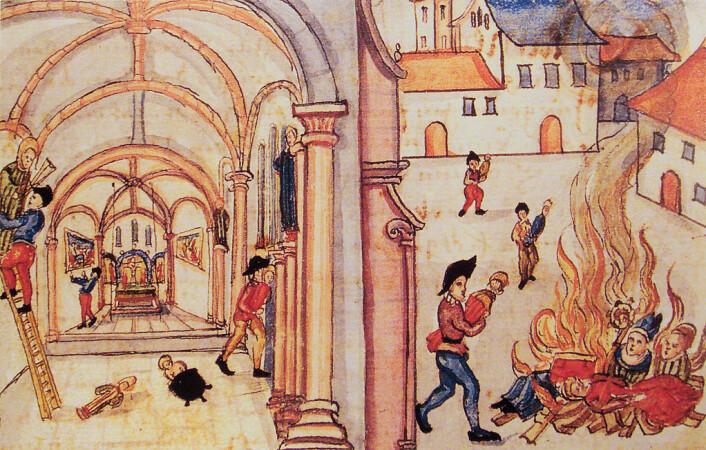 Brenning av religiøse gjenstander og figurer i Zürich i 1524. (Foto: (Illustrasjon: Ukjent))
