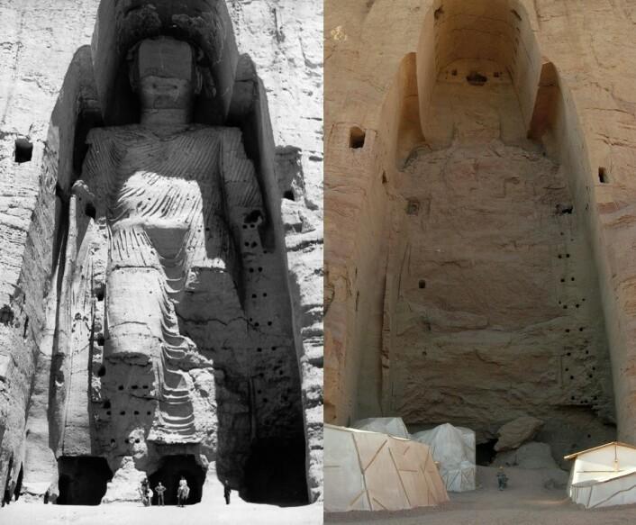 Den høyeste Buddha-statuen i Bamyiandalen. Bildet til venstre er fra 1963, mens bildet til høyre er tatt i 2008.   (Foto: UNESCO/CC BY-SA 3.0)
