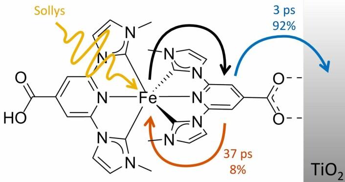 Når lys rammer det nye solcellemolekylet, hopper en elektron fra jernatomet i midten (Fe) til yttersiden av molekylet (svart pil). Herfra fortsetter den i 92 prosent av tilfellene til en nanopartikkel av titandioksid (TiO2), som er i forbindelse med en elektrode, og da kan elektronet inngå i et elektrisk kretsløp (blå pil). I de siste åtte prosentene av tilfellene faller elektronet bare tilbake igjen (rød pil). (Foto: (Illustrasjon: T. Harlang) )